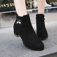 Women's leather ankle boots Fringed Short Boots Fashion Round Toe Zipper pearl boots for women shoes chaussures femme