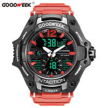 GOODWEEK Large Dial Sport Watch For Men Waterproof Digital Quartz Led Dual Display Watches Chronograph Relogios Masculino