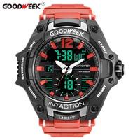 Goodweek 남성용 대형 다이얼 스포츠 시계 방수 디지털 쿼츠 시계 led 듀얼 디스플레이 시계 크로노 그래프 relogios masculino