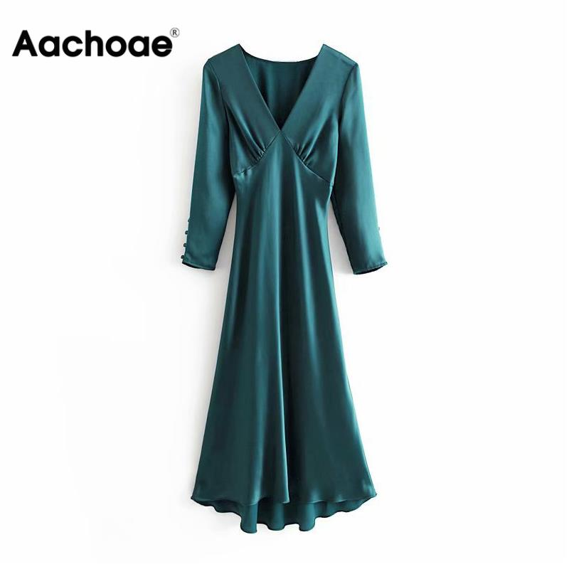Vintage Deep V Neck Solid Long Dress Women Satin Long Sleeve Sexy Party Dress Elegant Soft Pleated Midi A Line Dresses Vestidos