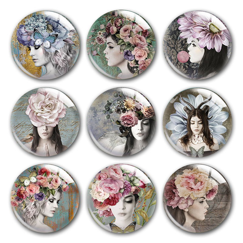 Beauty Girl Glass Cabochon,Beauty Girl And Flower Young Lady Plants Round Photo Glass Cabochon Demo Flat Back Making Findings