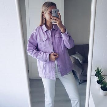 2020 Spring Autumn Purple Oversize Denim Jacket Women Solid Hole Casual Loose Jeans Jackets Coat Female Outwear Tops Veste Femme 4