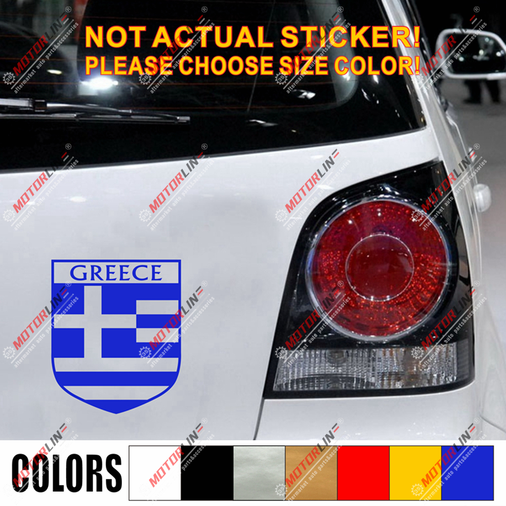 Greece Flag Shield Decal Sticker Car Vinyl Greek pick size color no bkgrd a