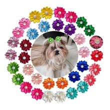 20PCS Cute Small Dog Hair Bowknot Flower Imitation Pearl Topknot with Rubber Band Pet Grooming Hair Bows Hair Decor Accessories