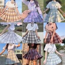 School Girl Uniform Pleated Skirts Japanese School Uniform High Waist A-Line Plaid Skirt Sexy JK Uniforms for Woman Full set