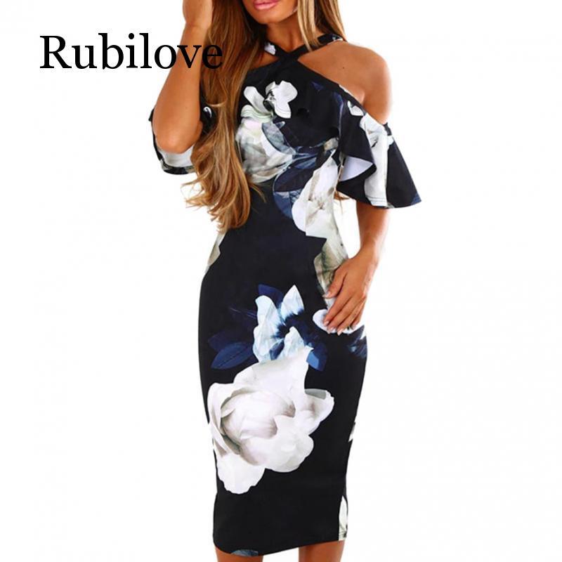 Rubilove Fashion Ruffles Pencil Dress Women Floral Printed Boho Beach Sundress Ladies Sexy Off Shoulder Casual Party Dresses Ves