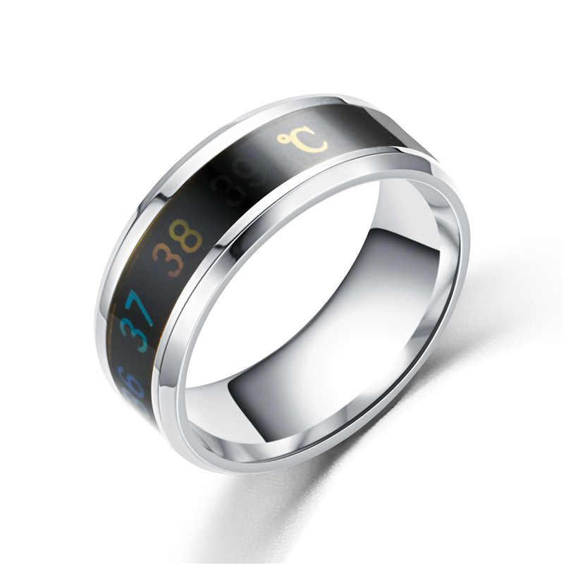 Woozu ไทเทเนียมเหล็กแหวนอุณหภูมิอารมณ์อารมณ์ความรู้สึกอัจฉริยะอุณหภูมิแหวนผู้หญิงผู้ชายเครื่องประดับ