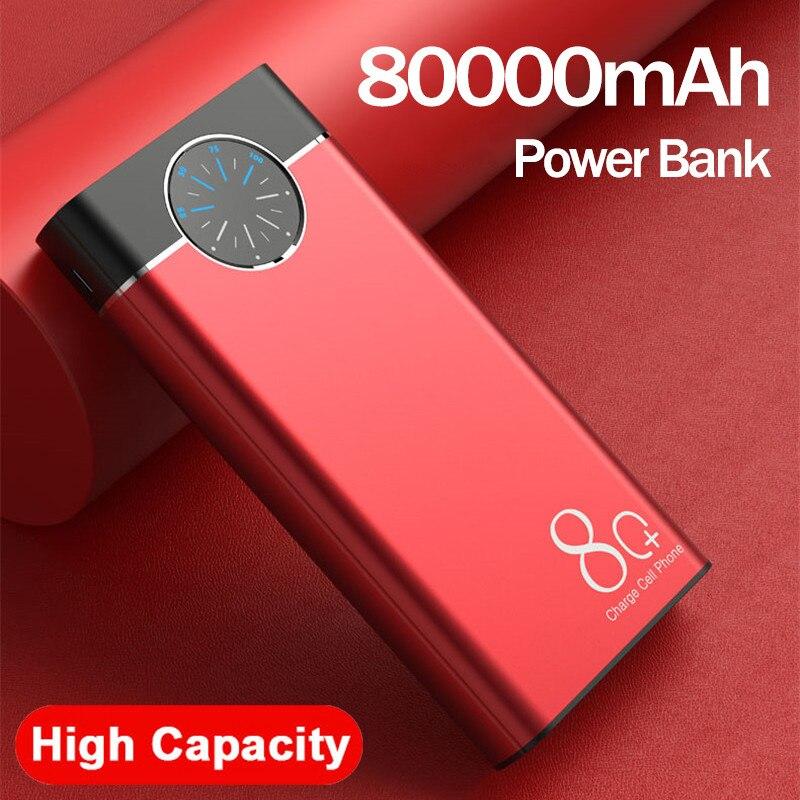 Haute capacité 80000mAh batterie d'alimentation montre affichage numérique Portable chargeur de téléphone LED voyage en plein air pour Iphone Xiaomi PowerBank