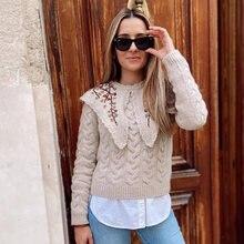 Модные женские свитера ardm укороченный вязаный свитер с вышивкой