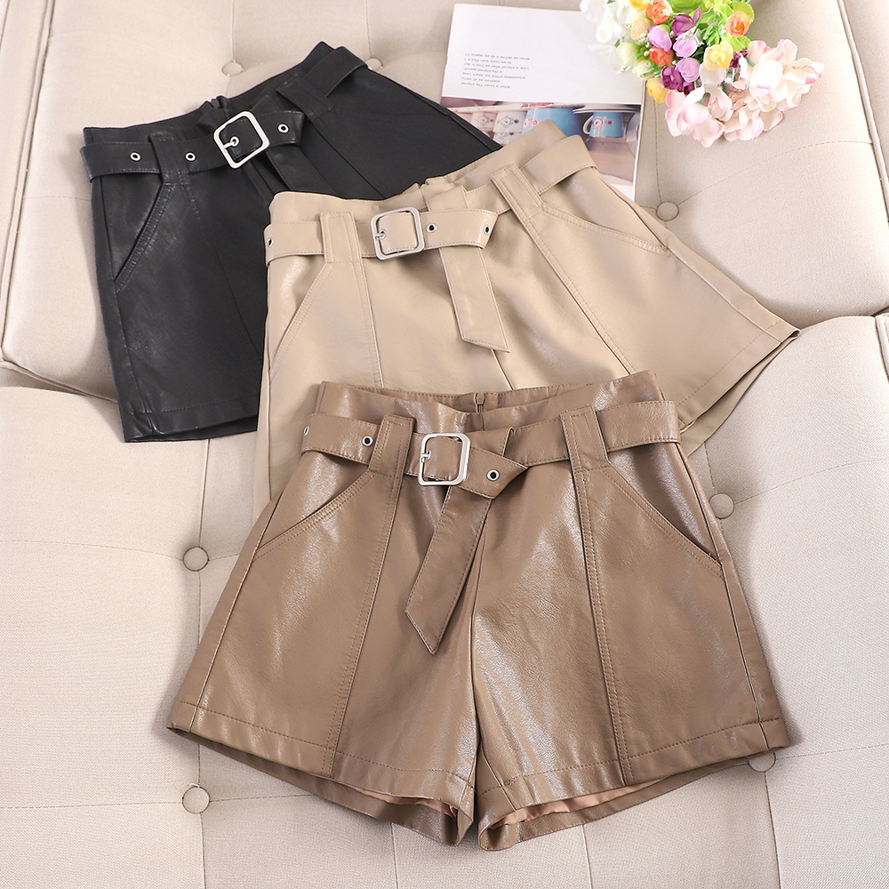 High Waist PU Leather Shorts Women Cool Punk Sashes Wide Leg Shorts Autumn Winter Casual Loose A Line Leather Shorts Femme 2019