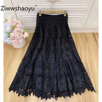 Ziwwshaoyu 2020 New Designer Spring Summer Party Hollow Out Embroidery Black Fashion Skirt Women's Clothing