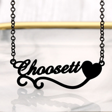 Personalized Name Necklace Jewelry Letter Pendant Stainless-Steel Women for Black-Color