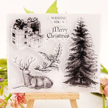 Christmas Transparent Stamps Deer and tree Clear Stamps for DIY Scrapbooking Card Making Album paper Craft silicon Decor merry christmas tree sticker painting stencils for diy scrapbooking stamps home decor paper card template decoration album craft