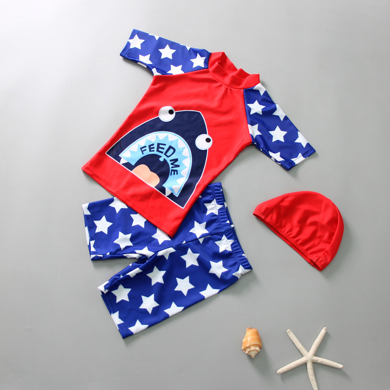 2019 KID'S Swimwear BOY'S Shark Split Type Quick Drying Clothes Big Virgin Boy Hot Springs Tour Bathing Suit Sun-resistant Beach