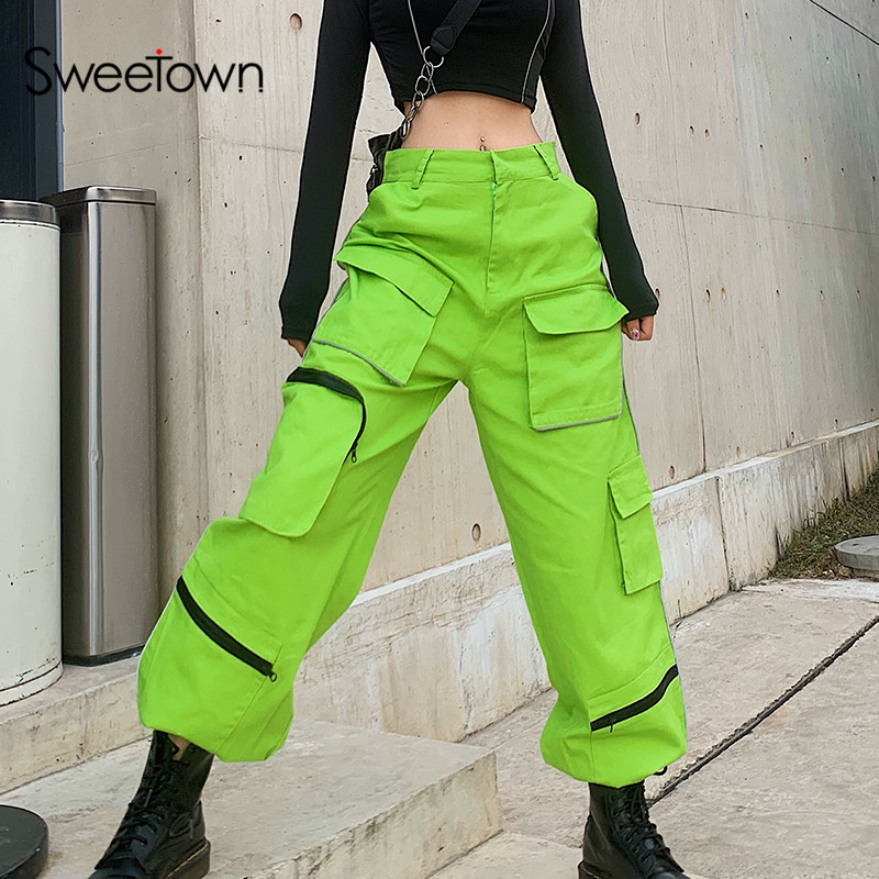 Sweetown Patchwork Reflective Striped Streetwear Cargo Pants Women Baggy Trousers Casual High Waist Hip Hop Harem Pants Pockets