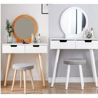 1Set Modern Bedroom Furniture Women Makeup Dressers Round Mirror Two Drawer Wooden Panel Dresser Table With Stool Chair Kit HWC