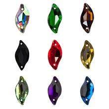YANRUO – feuille de diamant à coudre, Strass à dos plat, perles amples, à coudre sur des pierres de cristal pour la fabrication de bijoux, 3254