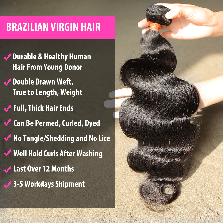 Luvin 28 30 32 34 40 Inch 1 3 4 Brazilian Hair Weave Bundles Body Wave Remy Human Hair Natural Double Drawn