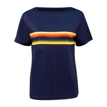 Cosdaddy 13th Arzt T-shirt Regenbogen Striped Navy T Frauen Tops Cosplay Kostüm