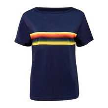 Cosdaddy 13th Doctor T-shirt  Rainbow Striped Navy Tee Women Tops Cosplay Costume slim striped fitted tee