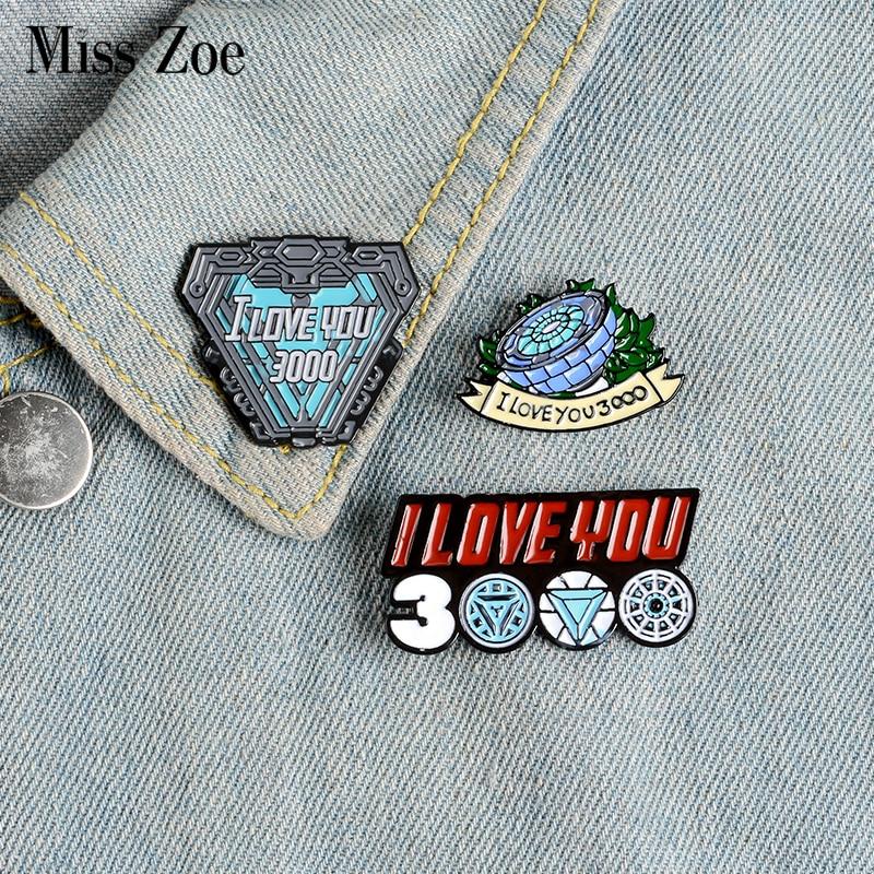 I LOVE YOU 3000 Enamel Pins Custom Hero Brooches Lapel Pin Shirt Bag Tony Stark Has a Warm Heart Badge Jewelry Gift Fans Friends
