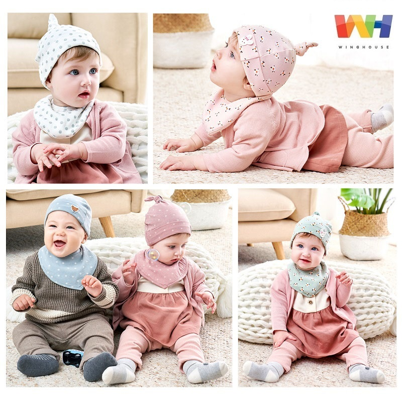 Winghouse Newborn Baby Hat Scarf Set 2PCS Cotton Flower Print Solid Color Children Hat Beanie Triangle Bib Toddler Infant Cap