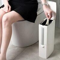 Modern Plastic Trash Can Kit Contain Toilet Brush Bathroom Rubbish Box Set Garbage Bucket Bag Waste Bin Dustbin Bathroom Kit