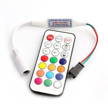 WS2812B WS2811 LED ściemniacz kontroler RGB pilot zdalnego taśmy 21 klawiszy RF Ws2812 światło RGB WS2811 WS2812B kontroler Led RGB kontroler RGB pilot zdalnego tanie i dobre opinie ZUCZUG CN (pochodzenie) Plastic ROHS WS2812B WS2811 21Key-RF-Control 1 year For 5050 5630