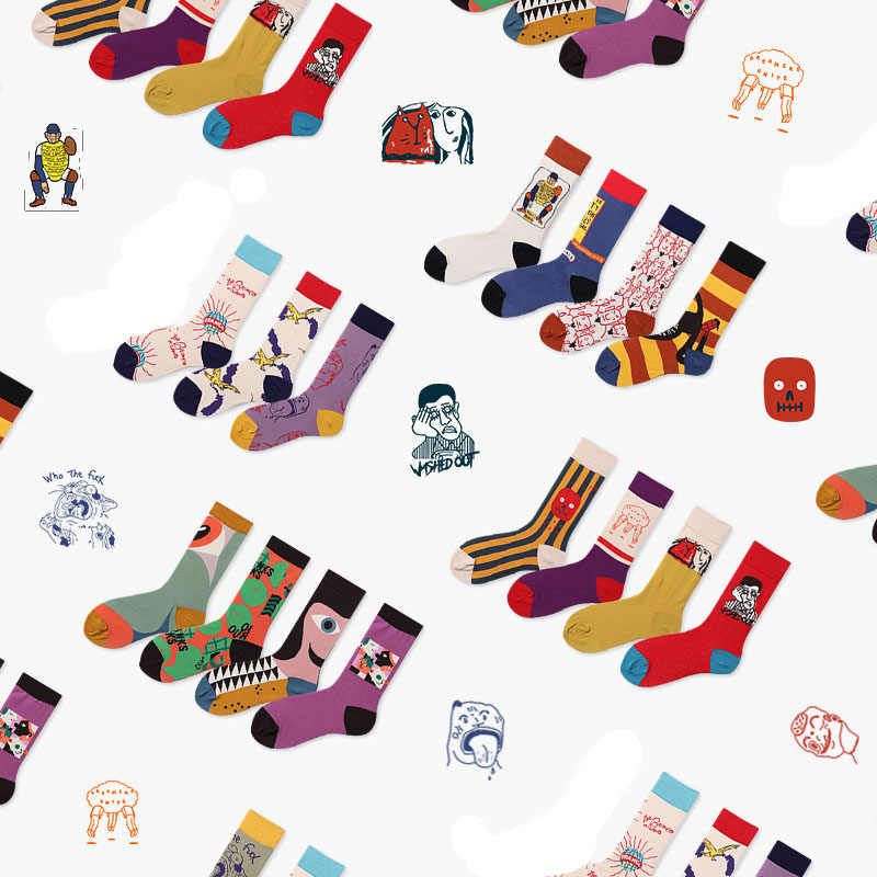패션 커플 남성 여성 양말 44 색 스케이트 보드 해피 양말 아트 크리 에이 티브 만화 과일 하라주쿠 힙합 거리 재미 있은 양말
