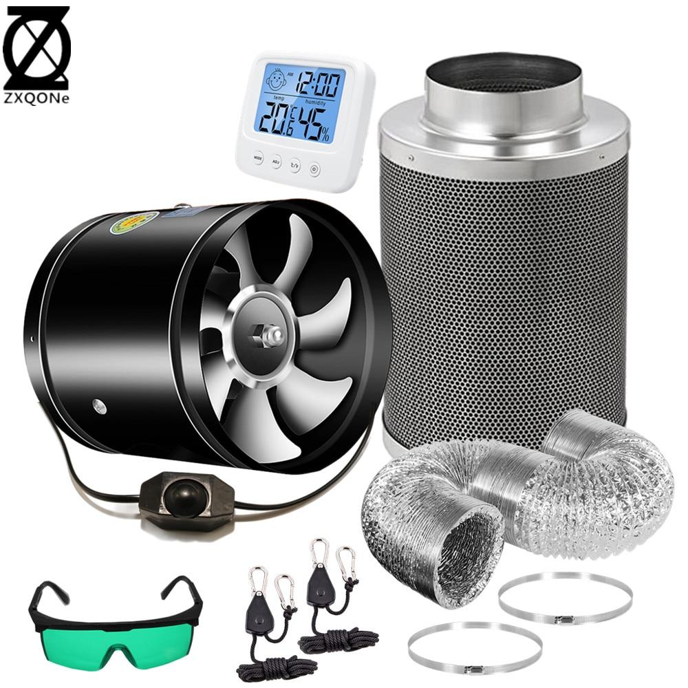 4/6/8/10/12 дюймовый встроенный регулируемый скоростной вентилятор с низким уровнем шума, воздуховод, чистый уголь, очиститель, набор фильтров д...