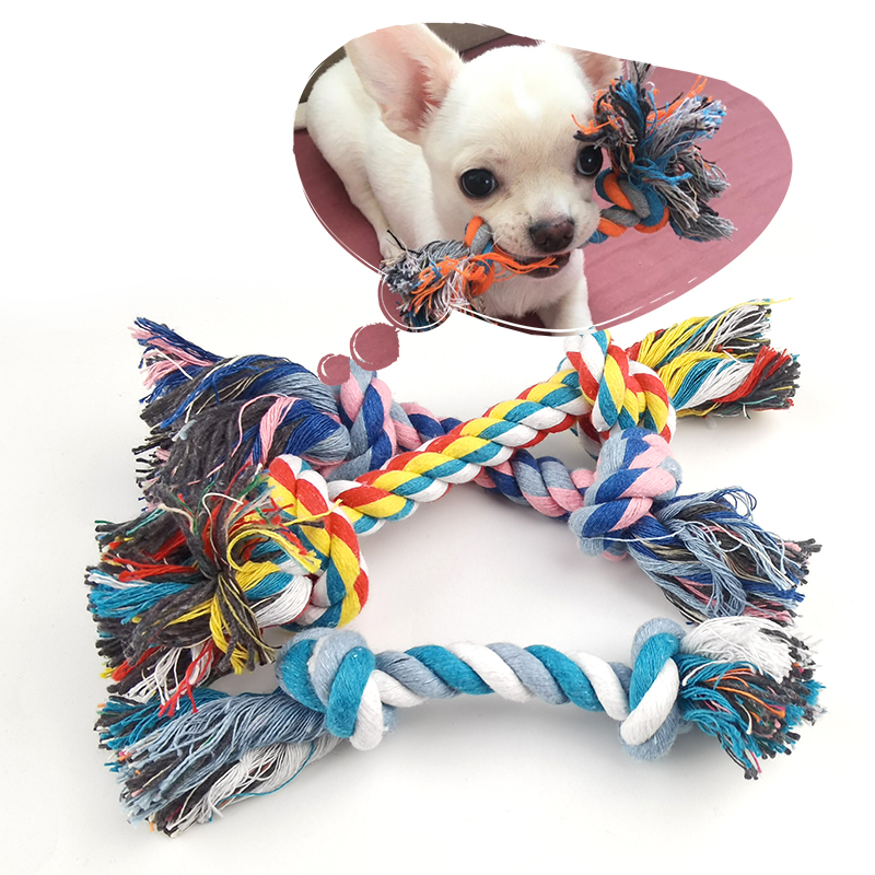 1 Pcs Dog Bite Rope Toys Pets Dogs Supplies Pet Dog Puppy Cotton Chew Knot Toy Durable Braided Bone Rope Funny Tool Random Color 1