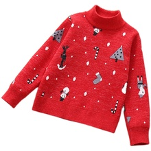 Chandails dhiver pour enfants pour filles, pull, en tricot, imprimé en molleton épais, 2020