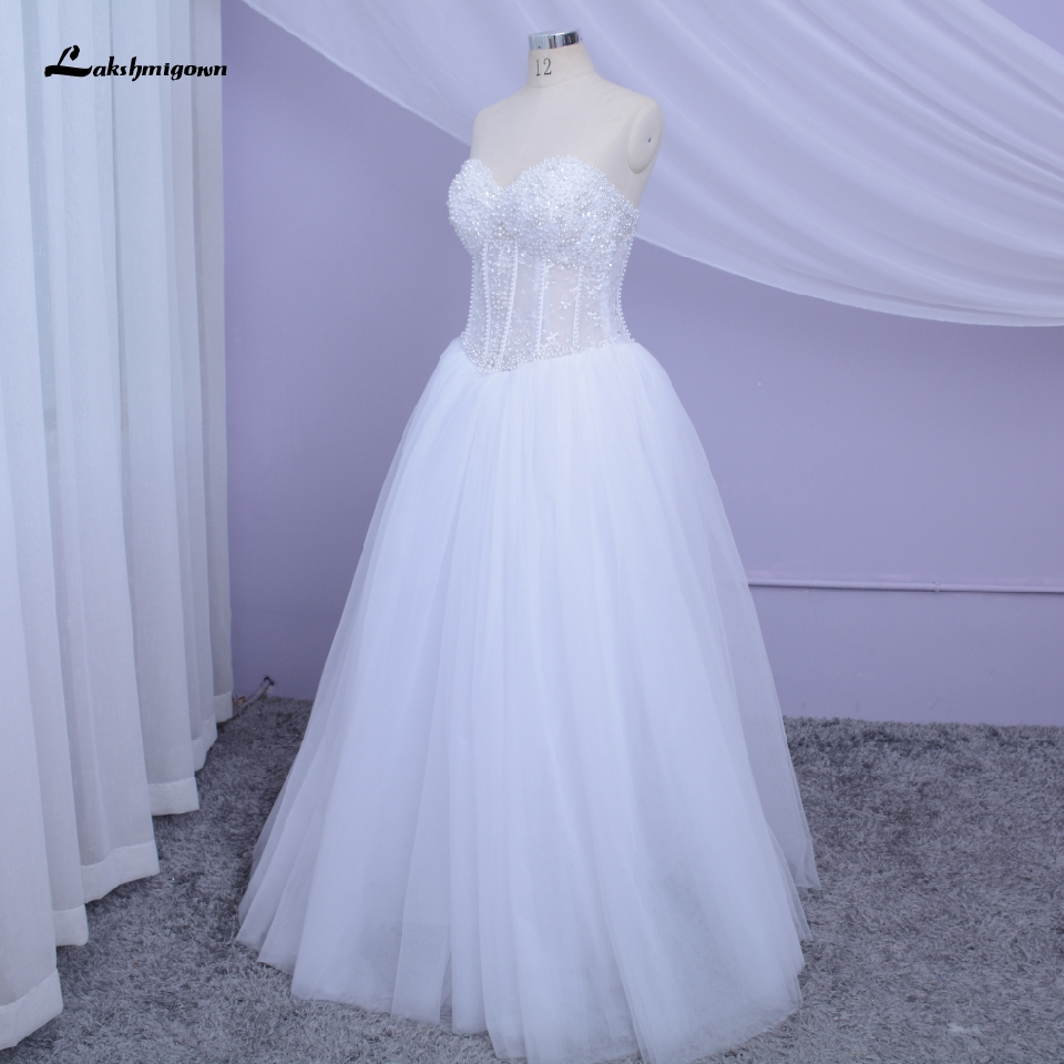 Lakshmigown Luxury Pearls Wedding Gowns Corset Lace Up Back Sexy Bridal Dress Sweetheart Off Shoulder White Tulle Mariage 2020