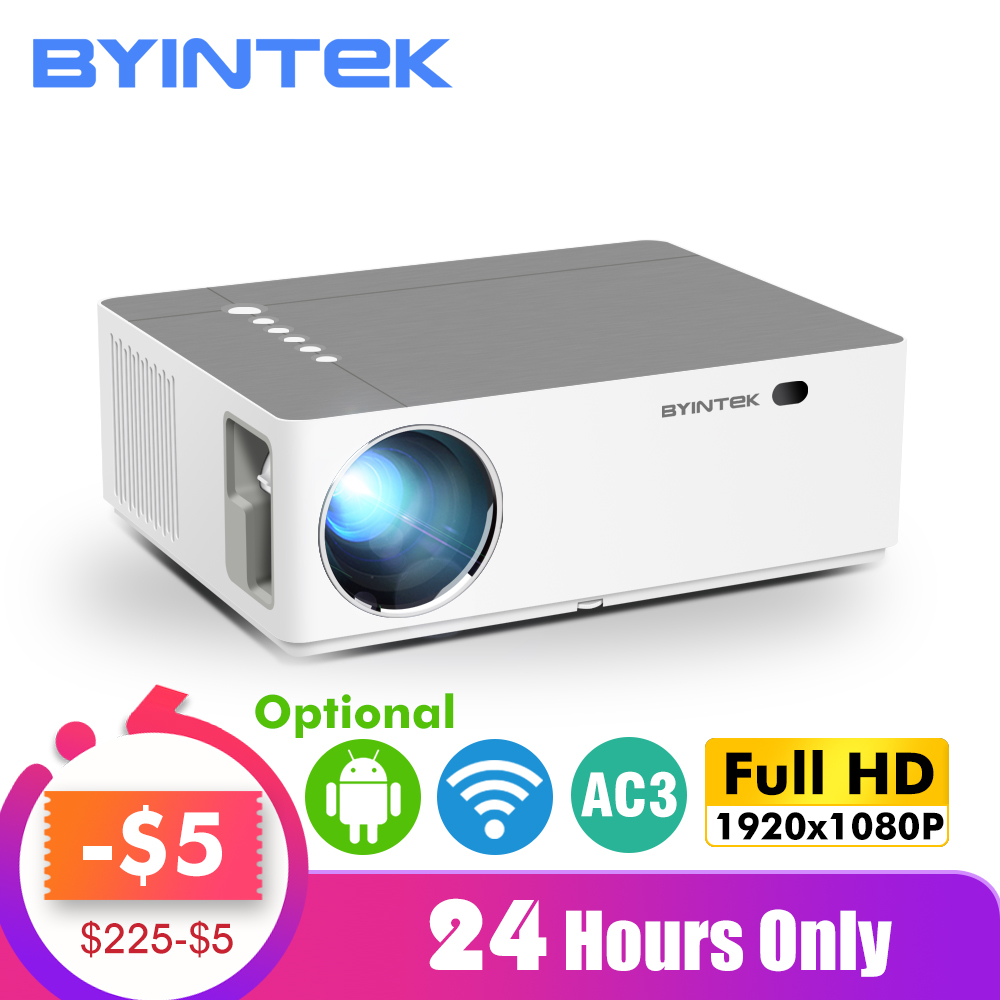 BYINTEK MOON K20 1920*1080 Full HD Smart Android Wifi Support AC3 300inch LED Video Projector With USB For Home Theater Cinema
