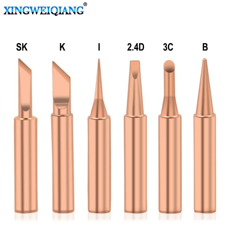 5pcs 6pcs Pure Copper 900M-T Soldering Iron Tip Lead-free Solder Tips Welding Head BGA Soldering Tools