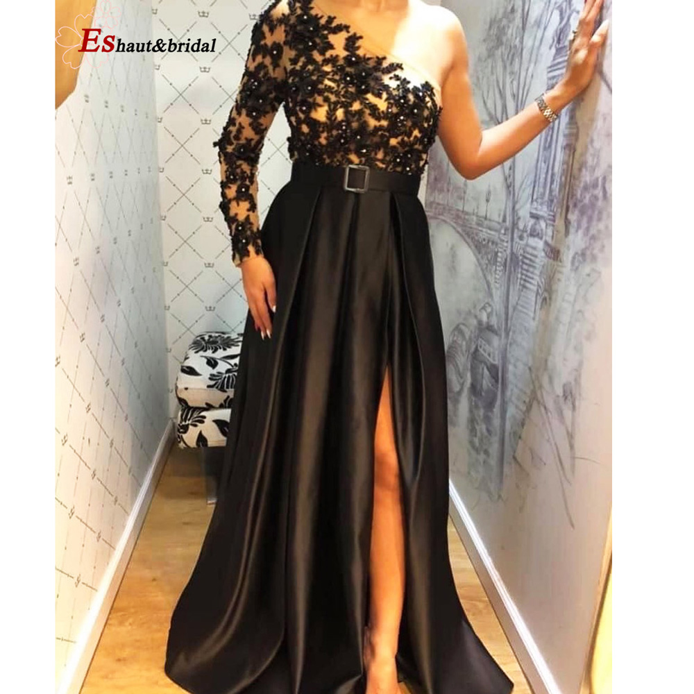 Lace Applique Beads Side Slit Evening Dress With Pockets 2019 One Shoulder Long Sleeves Black Satin A-line Formal Party Gowns