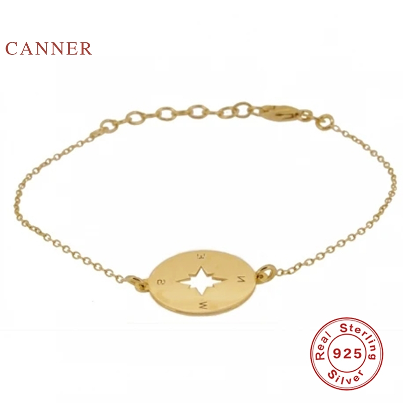 CANNER Compass Bracelet 925 sterling silver Bracelet For Women Pulseras Mujer Bracelets Charms Silver Gold Jewelry Armband