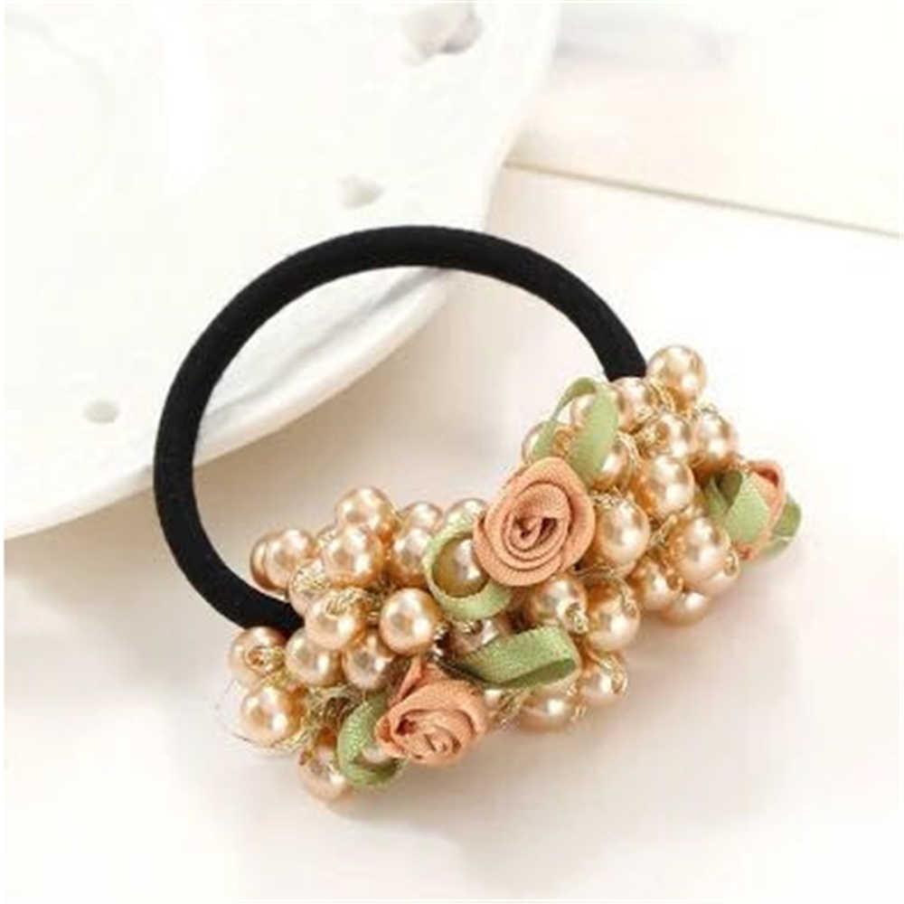 1 adet kore boncuk çiçek inciler elastik saç halat saçlarınızı tutucu şapkalar süs dekorasyon takı aksesuarları kadınlar için