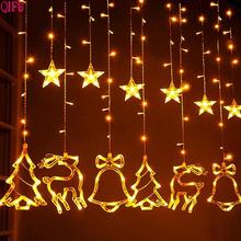 QIFU Merry Christmas LED Light Outdoor Ornaments Decorations for Home 2019 Navidad Xmas Tree Lights Decor