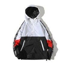 Hooded Jackets Men New Patchwork Color Block Pullover Jacket Fashion Tracksuit Coat Men Hip Hop Streetwear Jacket Men hooded color block ribbed coat