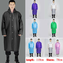 Mens Womens Long PVC Waterproof Jacket Rain Coat Hooded Button Raincoat Outdoor Wholease(China)
