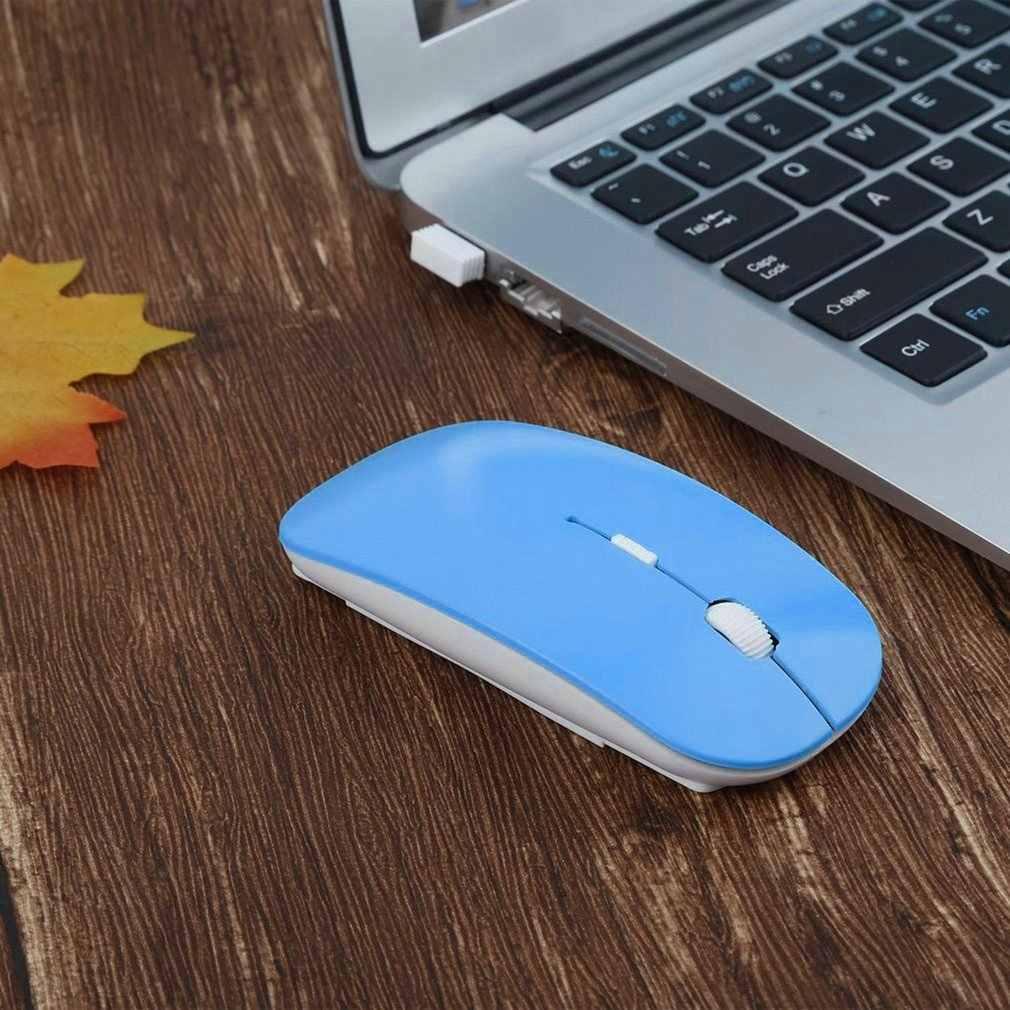 Bezprzewodowa mysz optyczna 2.4GHz 4 klawisze komputerowe myszki komputerowe USB 2.0 ergonomiczna konstrukcja Ultra szczupła moda mysz czerwony niebieski zielony