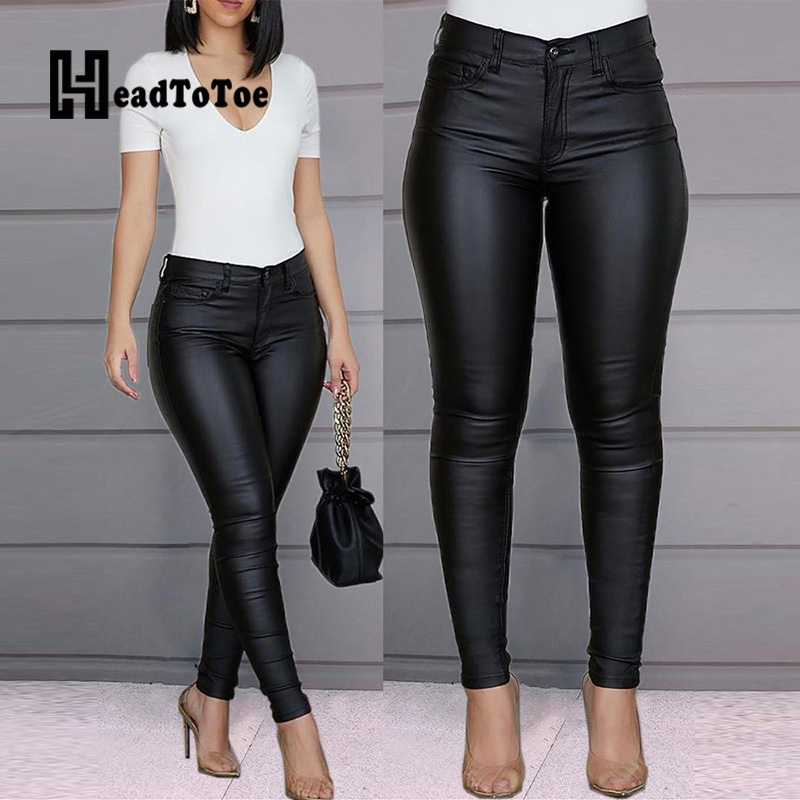 Solid Buttoned Casual Coated PU Pants Women Skinny Pencil Pants
