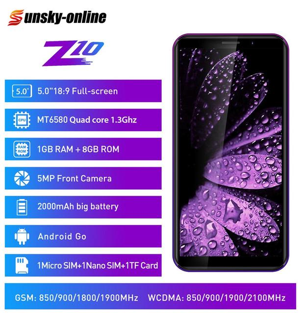 "LEAGOO Z10 สมาร์ทโฟน 5.0 ""Full หน้าจอ 1GB RAM 8GB ROM Quad Core MT6580M เครือข่าย 3G 5MP กล้องโทรศัพท์มือถือ"