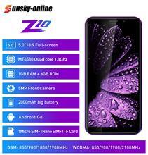 """Leagoo z10 스마트 폰 5.0 """"전체 화면 1 gb ram 8 gb rom 쿼드 코어 mt6580m 3g 네트워크 5mp 카메라 휴대 전화"""