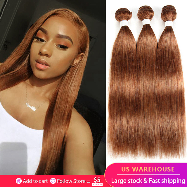 30 Brown Human Hair Bundles Brazilian Straight Human Hair Weave Bundles 8 26 inch Ombre Burgundy Non Remy Hair Extension 1PC