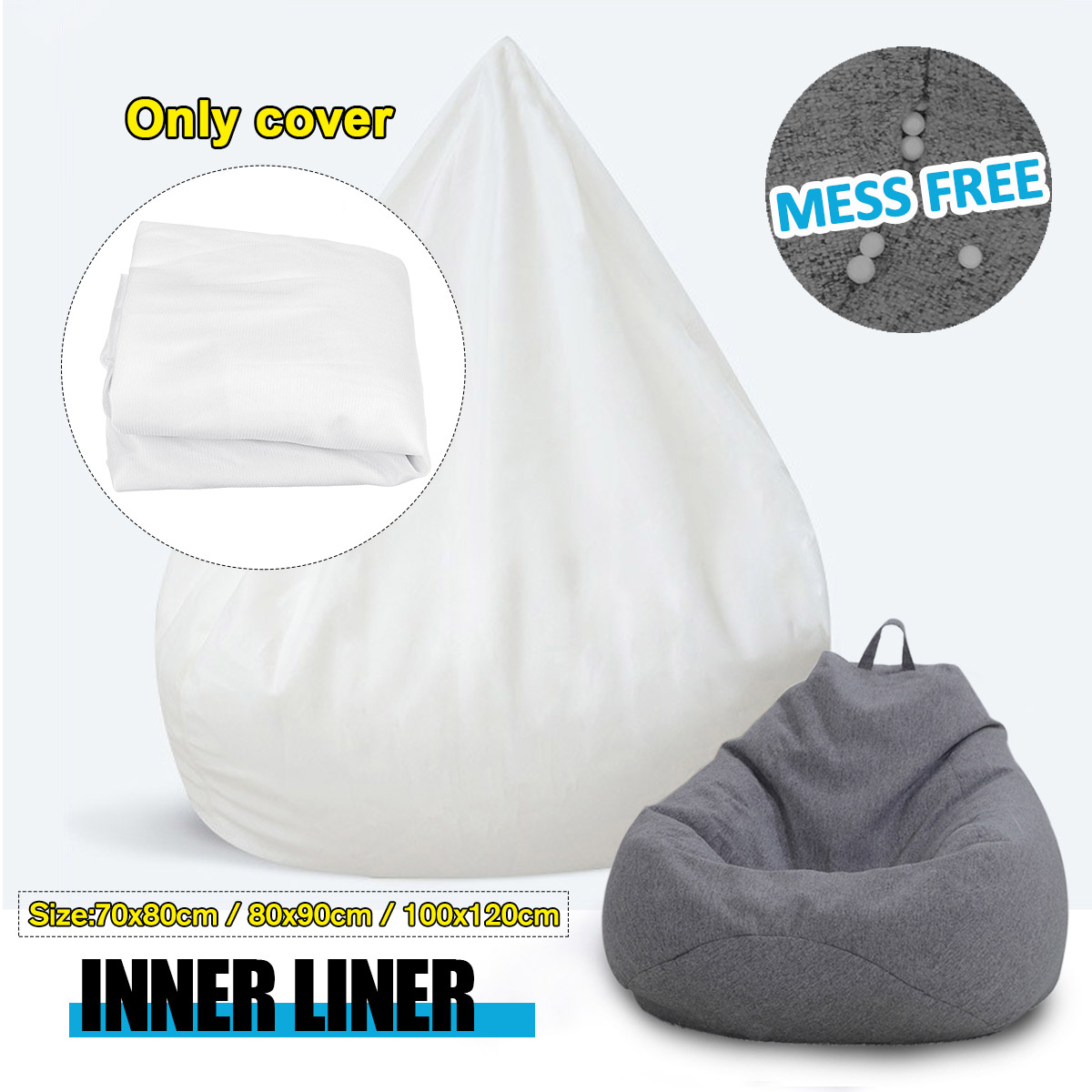 Waterproof Lazy BeanBag Sofas Inner Lining Cloth Suitable For Bean Bag Cover And Stuffed Animal Toy Upgraded Version Only Cover