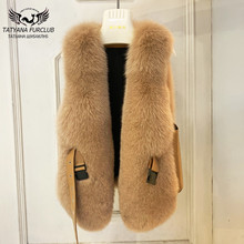 Fur-Coats Vests Real-Fox-Fur Natural Women Genuine Waistcoat Winter for Fashion High-Quality