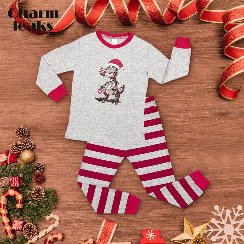 Charmleaks/Детский Рождественский пижамный комплект; Новинка; Рождественская одежда для сна; детская одежда для сна; комплект домашней одежды; зимняя одежда - Цвет: 8110