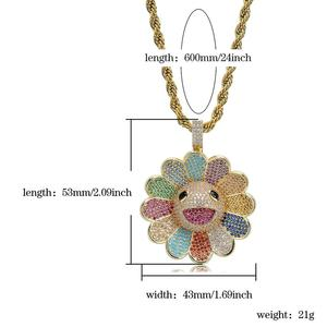 Image 5 - JINAO nouveau Design de mode MURAKAMI fleur glace sur pendentif coloré avec 4mm chaîne de tennis Hip Hop Rock bijoux pour homme femmes cadeau
